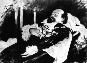 """König Ludwig II. auf seinem Totenbett. Der legendäre bayerische """"Märchenkönig"""" wurde vor 150 Jahren, am 25. August 1845, geboren. Sein mysteriöser Tod am 13. Juni 1886 war der Beginn einer beispiellosen Legendenbildung um den König. (zu dpa -korr. """"'Märchenkönig' Ludwig II. - Liebling der Bayern als Sonderling"""")"""